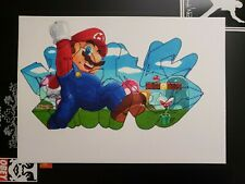 Frank1 Graffiti Fine Art Original 8.3x11.7 Nintendo Mario Bros / Cope2 Banksy