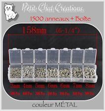 MIX 1500 ANNEAUX+BOITE RING JONCTION BRELOQUE PERLE BRACELET CHARM METAL *AU4