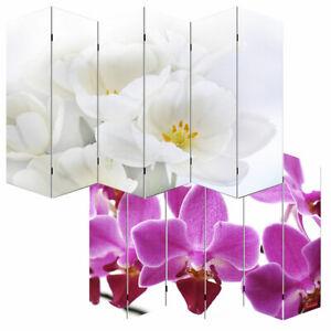 Foto-Paravent Paravent Raumteiler Spanische Wand M68 6 Panels 180x240cm Orchidee