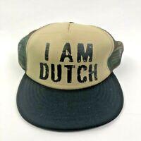DUTCH BROS I Am Dutch District Unisex Camo Trucker Hat Snapback Mesh One Size