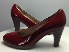 GABOR BURGUNDY PATENT PUMP WITH STACKED HEEL IN 8.5 US/6 UK NEW
