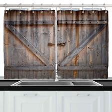 """Vintage Barn Wooden Door Decor Kitchen Curtain Window Drapes 2 Panels Set 55*39"""""""