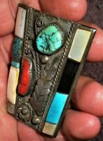 Vintage Navajo Sterling Silver Coral Turquoise Mother Of Pearl Bolo