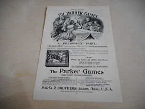 early 1900s MAGAZINE AD #A4-172 - PILLOW DEX board game PARKER GAMES
