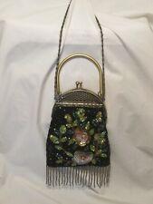 Frangi Evening Bag Black Beads Sequin Fabric  Metal Handle Chain Shoulder strap