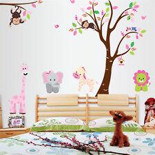 Nursery Baby Child Monkey Lion Tree Wall Decal Stickers Kids Room Home Decor