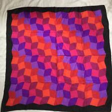 "ELAINE GOLD colorful geometric OP ART~100% silk scarf~30"" X 31""~ROLLED EDGE"