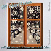 MEGA SET 100 Schneeflocken Fenstertattoo Fensterbild Aufkleber Dekoration Sterne