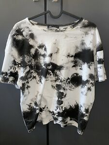 Zara Black/White Acid Wash T-Shirt Size Medium Perfect Condition
