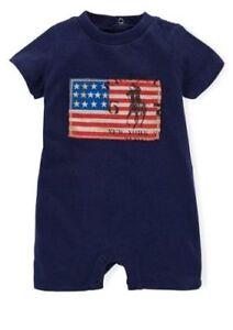 Ralph Lauren Baby Boys' Boy Flag Americana Flag Romper French Navy Blue Shortall