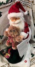 "Santa Claus Motionette W Bear Led Illumination Musical 24"" Christmas Decor"