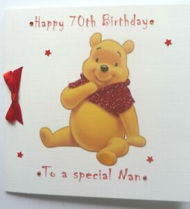 Personalised Hand made 6 inch sq Winnie the Pooh any age Birthday card