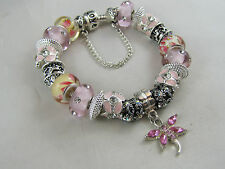 "19cm 925 SILVER STAMPED EUROPEAN STYLE BEAUTIFUL CHARM BRACELET "" PINK PASTIME """