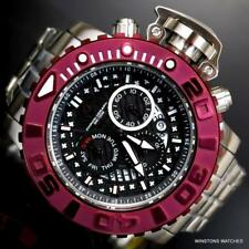 Invicta Sea Hunter II 70mm Black Chronograph Burgandy Swiss Mvt Steel Watch New
