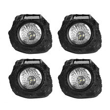 4 x LED Solar Rock Spot Light Outdoor Garden Yard Walkway Landscape Lamp Black