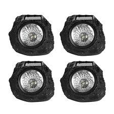 Set of 4 LED Solar Power Rock Spot Light Outdoor Garden Yard Walkway Lamp Black