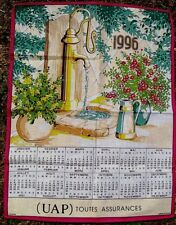Vintage 1996 French Tea Towel of Garden Pump With Calendar - Unused