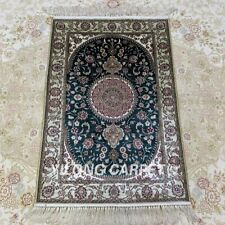 YILONG 2'x3' Green Handmade Silk Carpet Home Furniture Oriental Rug 1022B