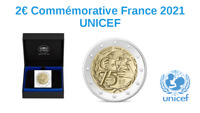 Prévente 2 Euros Commémorative France 2021 UNICEF Coffret BE Proof