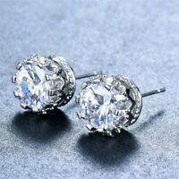 Womens Silver CZ Round Crown Stud 6mm Earrings