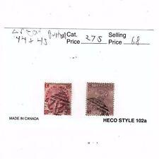 1865 Great Britain Victorian Stamp Scott's # 44 and 45