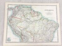 1896 Antik Map Of Südamerika Brazil Columbia Bolivien 19th Jahrhundert Johnston