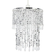 Modern Silver Chrome & Clear Acrylic Bead Droplet Ceiling Light Pendant Shade
