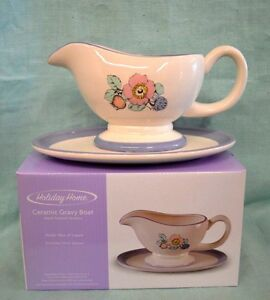 NEW Holiday Home GRAVY BOAT Hand Painted CERAMIC Floral Flowers Pink BLUE Green