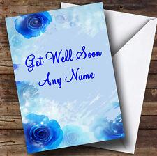 Blue Flowers Personalised Get Well Soon Greetings Card