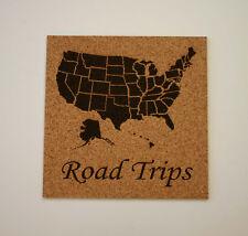 USA Map Etched Cork Board Push Pin Bulletin Board Road Trips