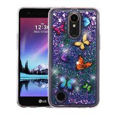 LG K10 K20 Plus K20 V Bling Hybrid Liquid Glitter Rubber TPU Silicone Case Cover