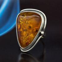 Bernstein Silber  Ring  Unikat Handarbeit  Ringgröße 54 (17,2 mm Ø)