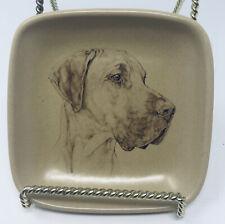 Great Dane Crescendo Memento Small Square Dog Plate Honiton England 4 x 4 inches
