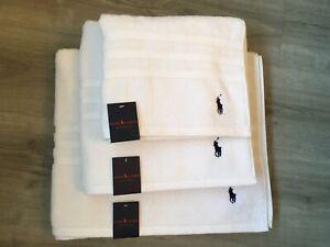 Ralph Lauren Luxury White Towel Set,Bath Sheet/Bath Towel/Hand Towel,BNWT