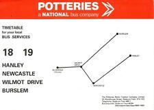 Bus Timetable - Stoke Hanley Burslem 18 19 PMT - 1982 Potteries Motor Traction