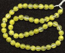 Vintage 6mm Lemon Yellow Givre Beads Matte Finish Glass 50 Pcs. Western Germany