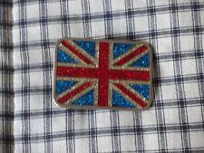 Union jack british flag belt buckle 1970's Inlaid sparkles excellent rare