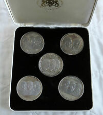 SPACE EXPLORATION APOLLO 5 x 1oz 40mm SILVER PROOF BOXED MEDAL SET