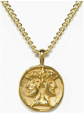 Janus Pendant wth Chain 24 karat Gold-plate Janus Symbol Charm Necklace USA Made