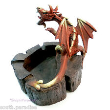 Red Medieval Dragon Sawdust Sculpture Wood Dust Art Statue Cigarette Ashtray