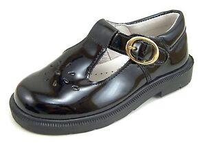 DE OSU/FARO  - Girls Black Patent Leather Dress School Shoes - European Size 7-9