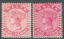 Malta 1882 rose 1d carmine 1d crown CA mint SG21/22