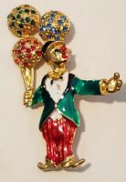 Vintage Lucite Rhinestone Clown Balloons Brooch Pin Chunky Bold Statement