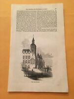 KP) 1853 Harper's Monthly The Conciergerie Royal Palace Paris France Engraving