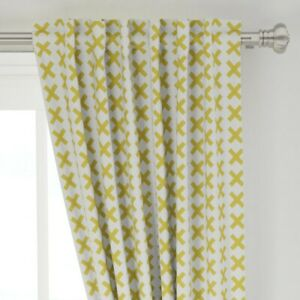 """Yellow X Kids Kisses Geometric Letters Boho 50"""" Wide Curtain Panel by Roostery"""