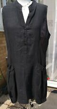 NARA CAMICIE BLACK LINEN TUNIC DRESS WITH POCKETSSIZE 10/12 LAGEN LOOK
