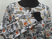 Nurse Medical Uniform Halloween Themed Pattern Button Top Pockets Barco Large L