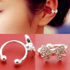 Fashion Korea Bowknot Bow Rhinestone Crystal Cuff Ear Bone Clip Earring (