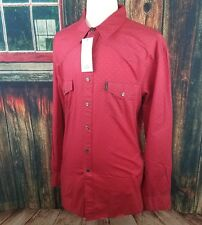 Cinch Men's Modern Fit Red Spotted Plain Weave Western Snap Up Shirt XXL 2XL