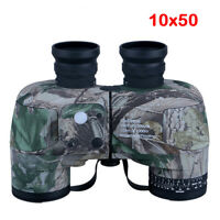 10x50 Binocular with Compass Low Night Vision Wide Angle HD Bak4 Rangefinder
